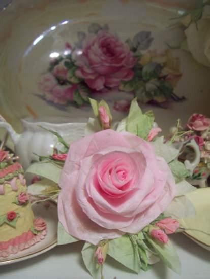 (CottonCandy) Handmade Paper Rose Clip