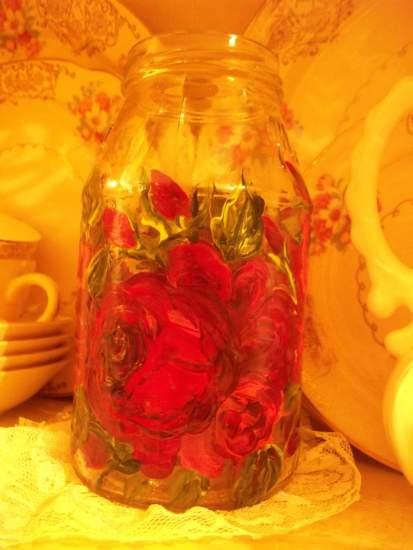 (Jar36) Handpainted Jar