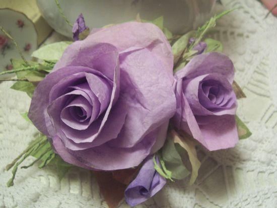 (DOUBLELAVENDER) LAVENDER PAPER ROSES SHABBY ROMANTIC