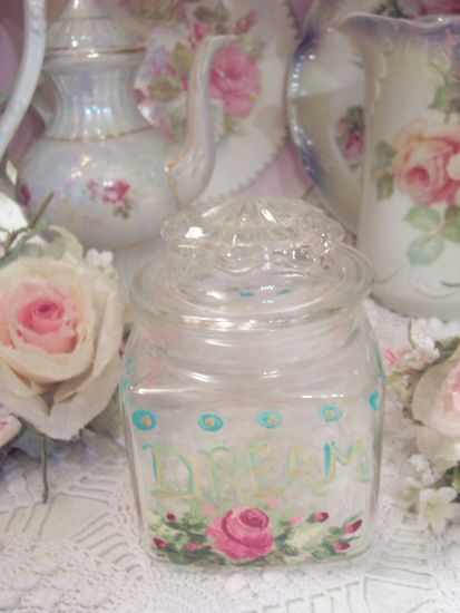 (DREAMJAR) Covered Glass Painted Jar!!!