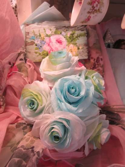 (GreenishAqua) Paper Rose Bouquet