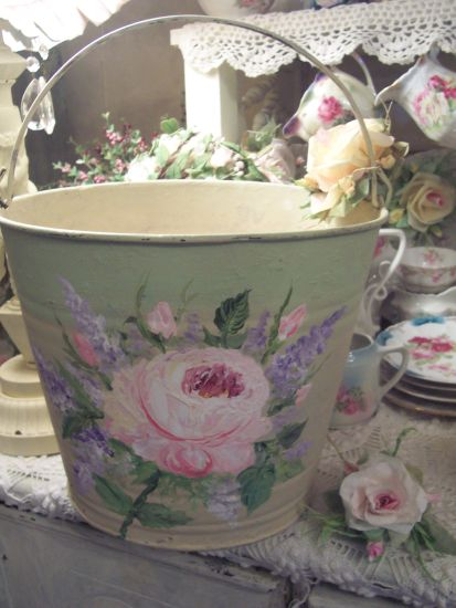 (RoseAndLilacPail) Handpainted Roses On Old Shabby Bucket