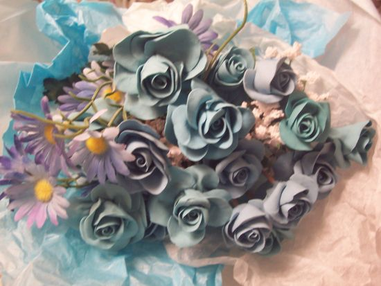 (Bou8) Pretty Handmade Clay Rose Victorian Bouquet