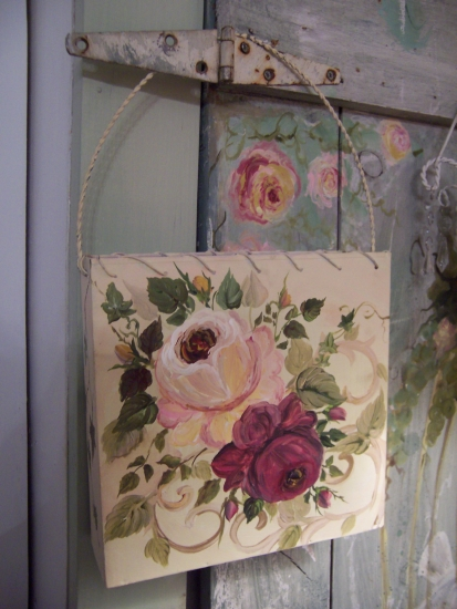 (walp1) Handpainted Roses Wall Pocket!