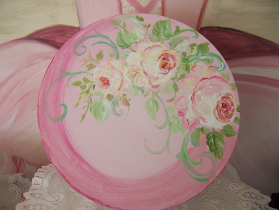 (pinkbox) Mache` Box Handpainted With Roses