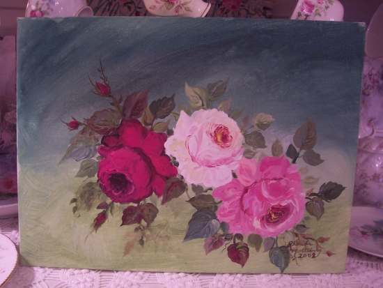 (special)HANDPAINTED ROSES CANVAS PAINTING ART!