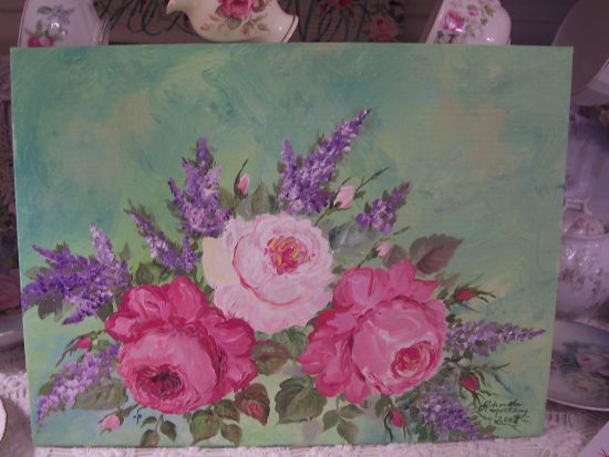 (lilacrcv) HANDPAINTED ROSES CANVAS PAINTING ART!