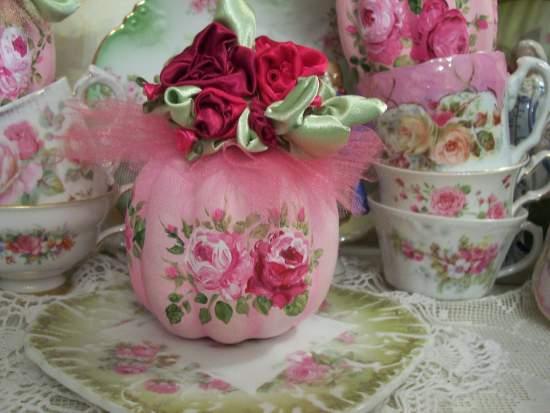 (PinkTullePumpkin) Handpainted Pumpkin with handmade satin roses, Autumn decor