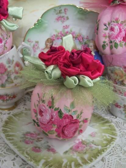 (GreenTullePumpkin) Handpainted Pumpkin with handmade satin roses, Autumn decor